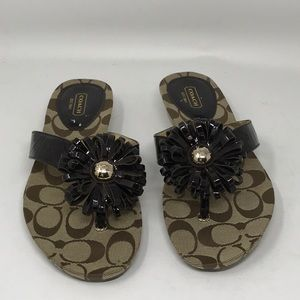 COACH Brown Patent Flower Slide Sandals NEW